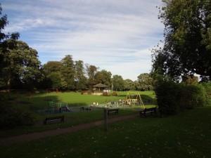 Oakham High Street - View accross Cutts Close & chidrens play area from Church Street Oakham